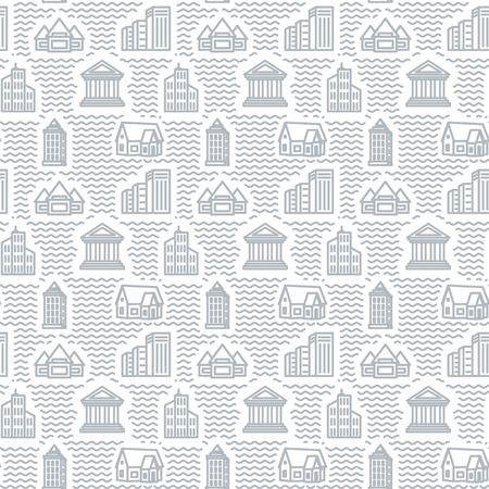 creation of sites: Seamless texture with drawings of buildings. A vector.