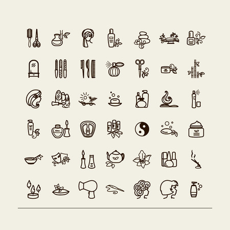 manicurist: Set of icons - beauty saloon, Spa, barbershop. A vector. Illustration