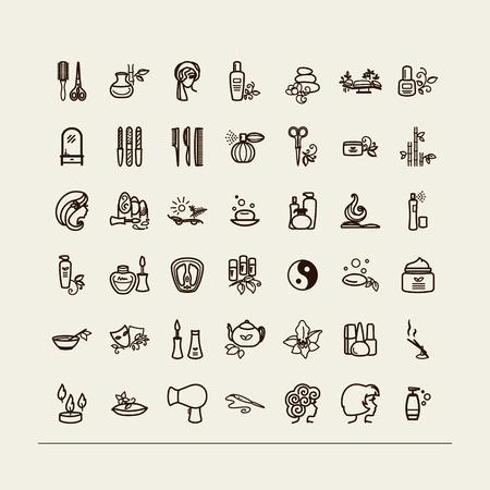 Set of icons - beauty saloon, Spa, barbershop. A vector. Vektoros illusztráció