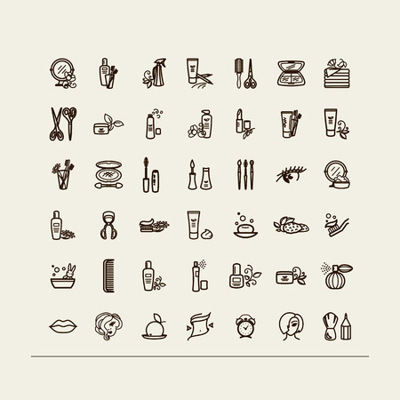 aseo personal: Conjunto de iconos - belleza, higiene personal, cosméticos, maquillaje. Un vector.