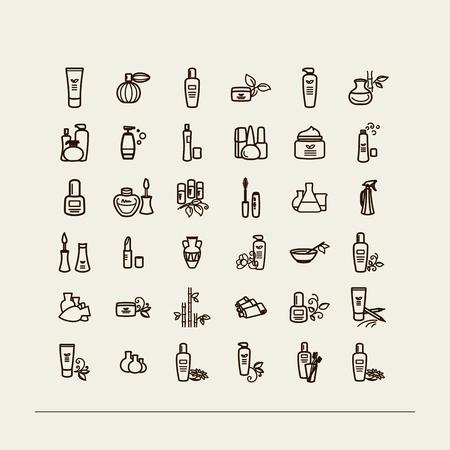 vials: Set of icons - vials , creams, cosmetics. A vector.