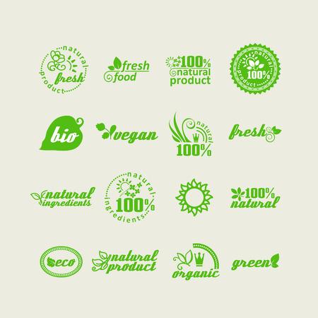 productos naturales: Conjunto de elementos para el diseño - la ecología, los productos naturales respetuosos del medio ambiente y la comida. Un vector.