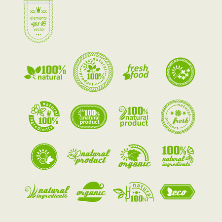 productos naturales: Set of elements for design - ecology, eco-friendly natural products and food. A vector.