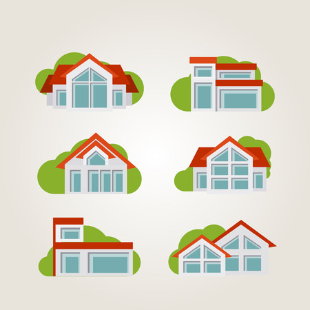 residential: illustration of country residential houses. Illustration