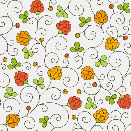 Seamless texture - fleurs et feuilles de trèfle. Vecteur.