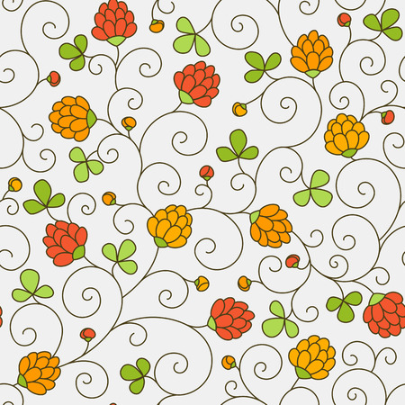 Seamless texture - flowers and clover leaves. Vector.