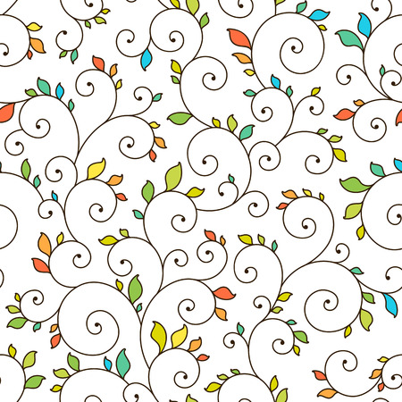 Seamless texture - spirals and leaves. Vector.