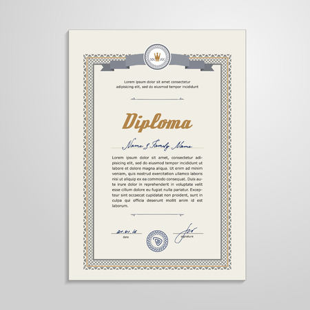 antiquarian: Certificate, Diploma, design template. A vector.