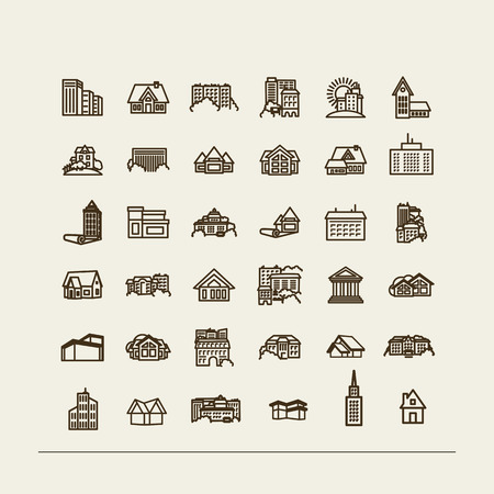 city icon: Buildings - set of icons. A vector.