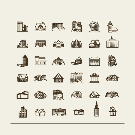 Edifici - set di icone. Un vettore.