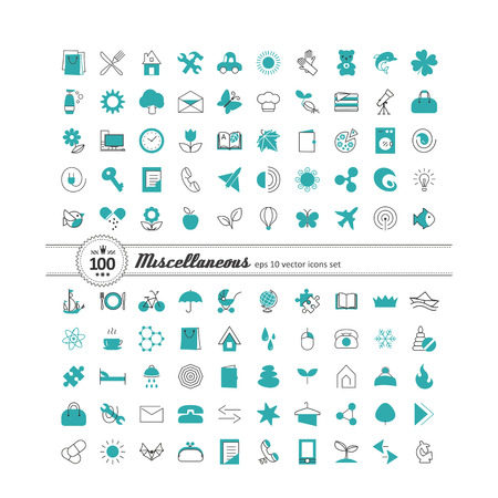 in common: Set with icons - abstract symbols. A vector.
