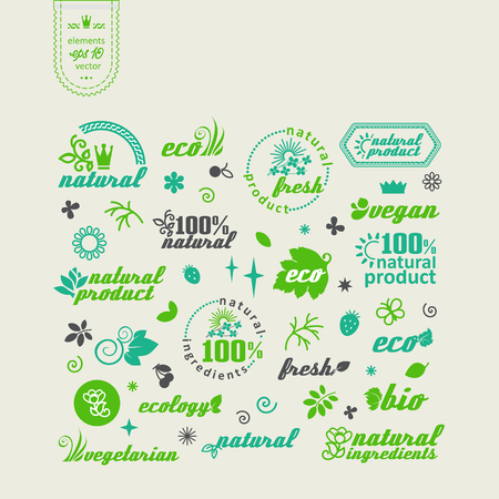 Set of elements for design - ecology, eco-friendly natural products and food. A vector.