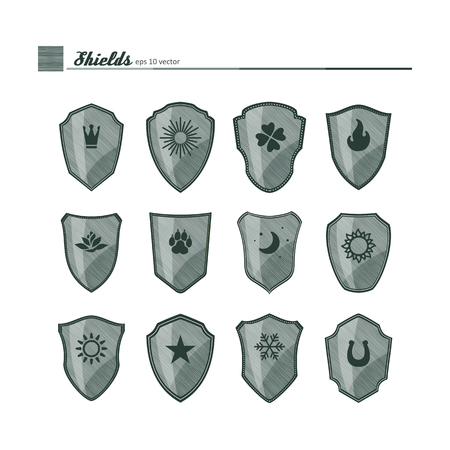 filling: Shields - filling texture with neutral symbols. A vector.