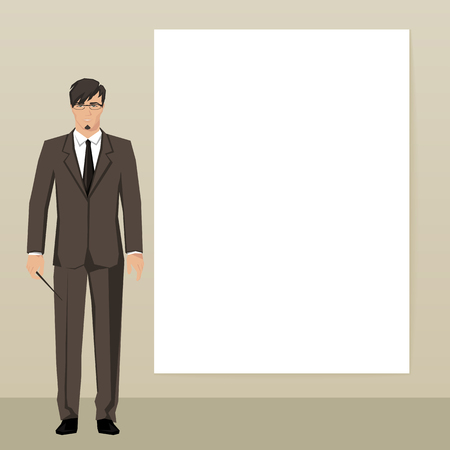 rustler: The young man in an elegant suit points to an empty board. Vector.
