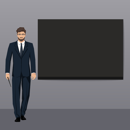 narrate: The young man in an elegant suit points to an empty board. Vector.