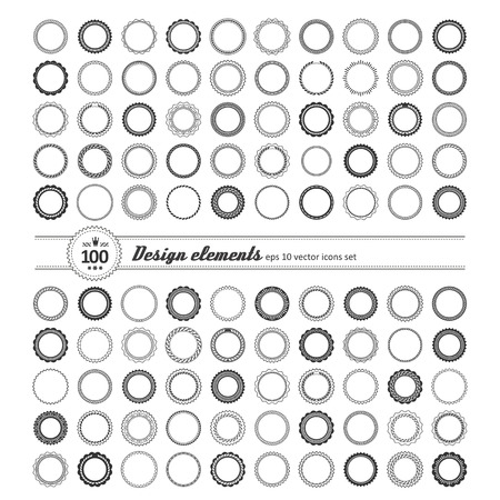 shortcuts: Set of elements for design - decorative round frame and label. A vector.