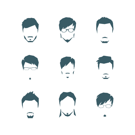 The set of mans hairdresses in style flat. Vector. Illustration