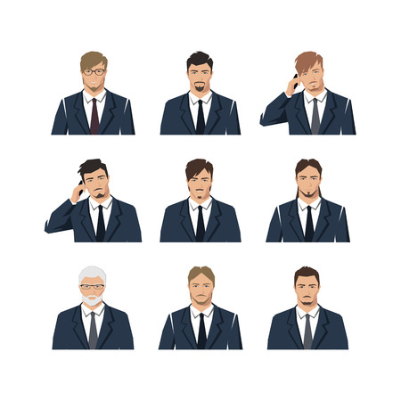 The young man in a suit. A set with different hairdresses. Vector. Illustration