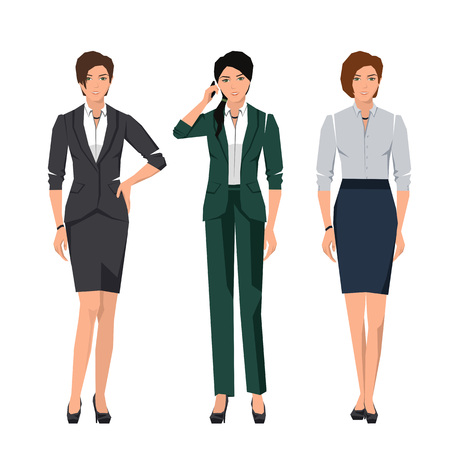 rustler: Active young women in suits for office. Vector set.