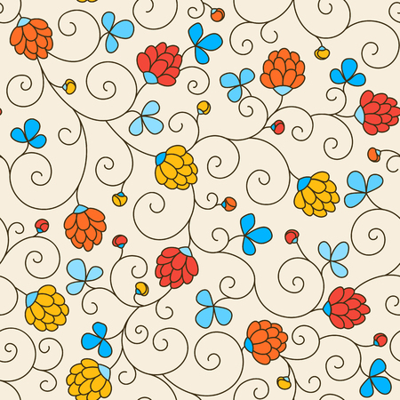 seamless clover: Seamless texture - flowers and clover leaves. Vector. Illustration