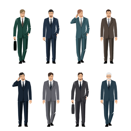 rustler: Young man in a classic elegant suit. Active, successful businessman. Vector set. Illustration