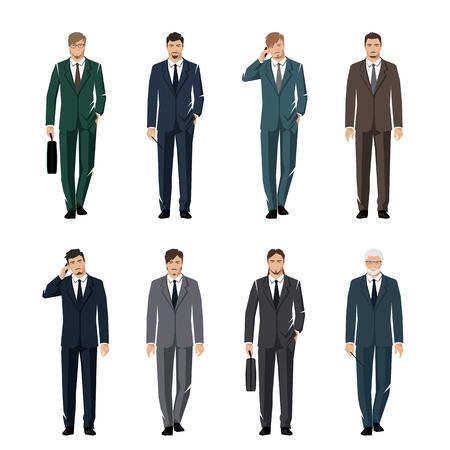 rustler: Young man in a classic elegant suit. Active, successful businessman. Vector set. Illustration