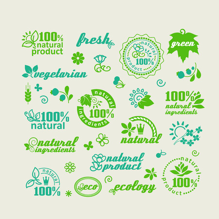 Set van elementen voor ontwerp - ecologie, eco-vriendelijke natuurlijke producten en voedingsmiddelen. Een vector.