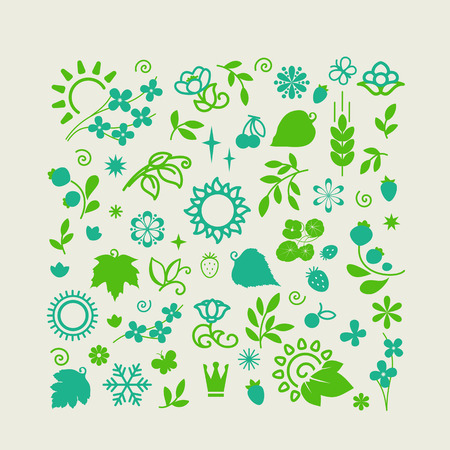 Set of elements for design - ecology, nature, leaves , flowers , grass. A vector.