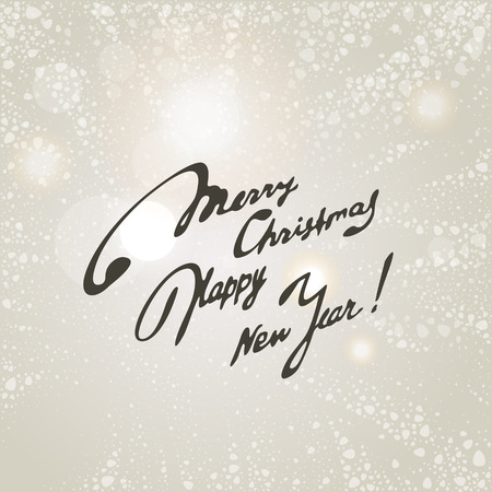 Merry Christmas, Happy New Year Easy background with snowflakes and inscription. A vector.