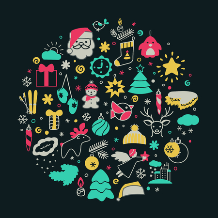 Backgrounds with icons - New Year, Christmas, winter. A vector. Illustration