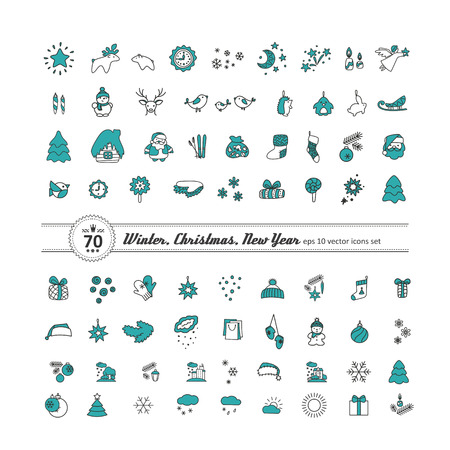 Set of icons - New Year, Christmas, winter. A vector.