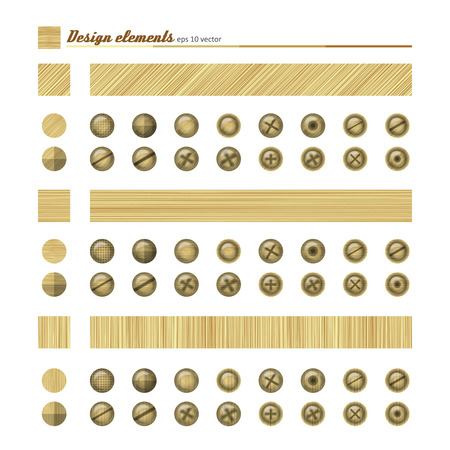patchy: Set of elements for design - buttons and bolts, natural material. A vector. Illustration