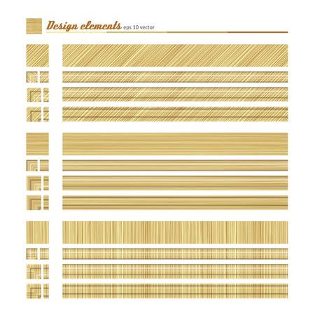 Set of elements for design - decorative border, natural material. A vector. Illustration
