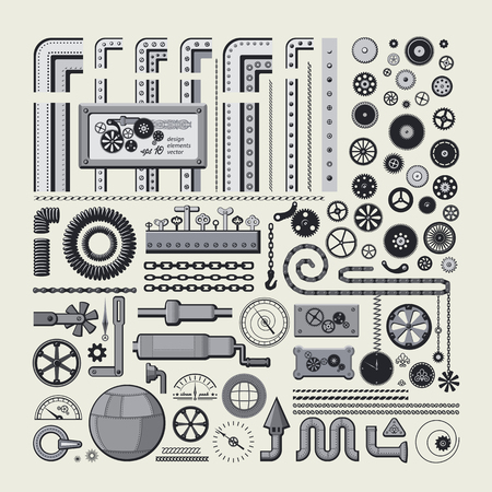 Decorative design elements in style the steam punk. Big vector set.