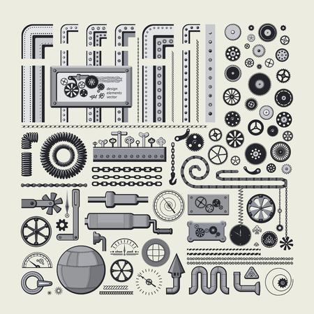 Decorative design elements in style the steam punk. Big vector set. Illustration