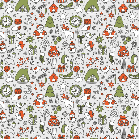 Seamless texture with icons - New Year, Christmas, winter. A vector.