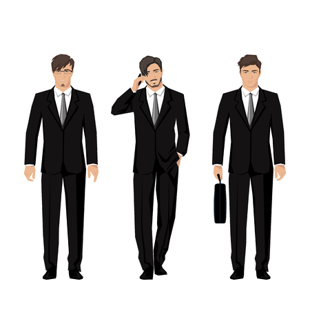 Young man in a classic elegant suit. Active, successful businessman. Vector.