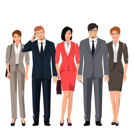 Young active people in elegant suits for office. Vector set. Illustration