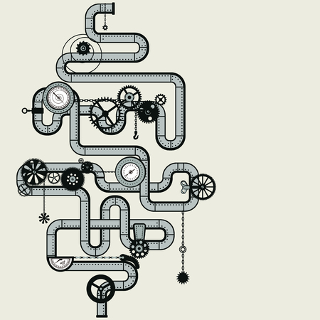 Decorative composition in style the steam punk - pipes. Vector Illustration