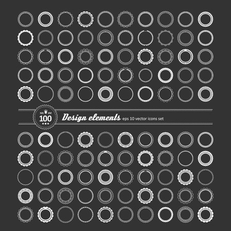 shortcuts: Set of elements for design - decorative round frame and label. Illustration