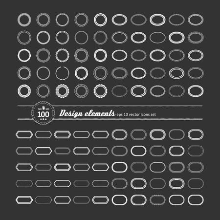 shortcuts: Set of elements for design - decorative frame and label.
