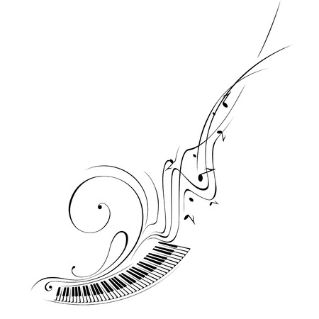 simplified: Simplified illustration - Music. Notes, lines, musical instruments.