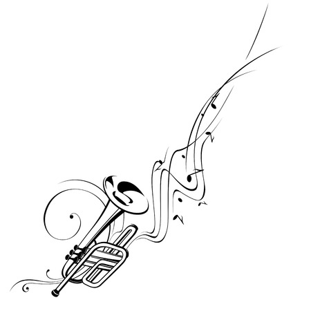 winds: Simplified illustration - Music. Notes, lines, trumpet.