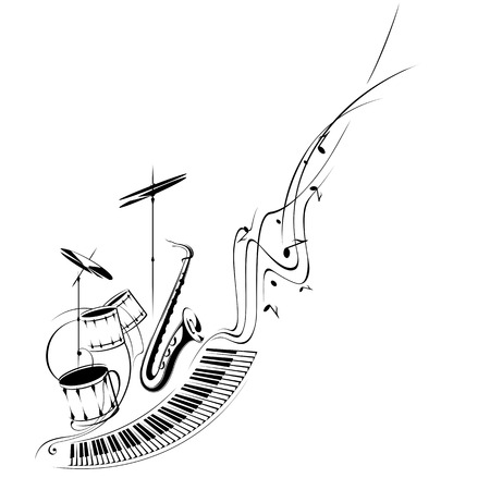 Simplified illustration - Music. Notes, lines, musical instruments.