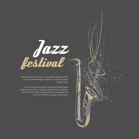 simplified: Simplified illustration - Music. Notes, lines, saxophone.