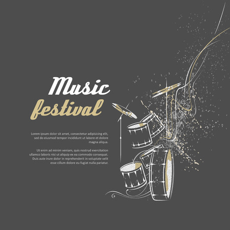simplified: Simplified illustration - drum set. Music, Notes, lines.
