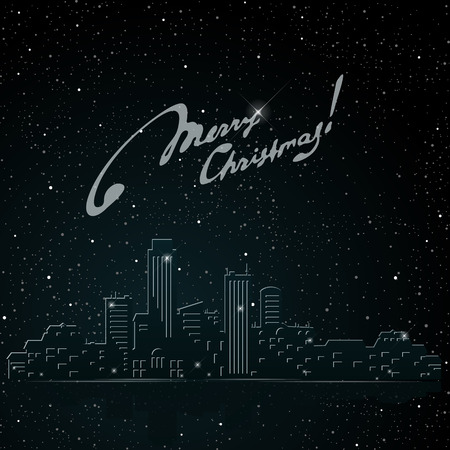 xmas card: The inscription Merry Christmas on the background of the city at night.  Silhouettes of buildings. Urban cityscape. Vector illustration. Illustration