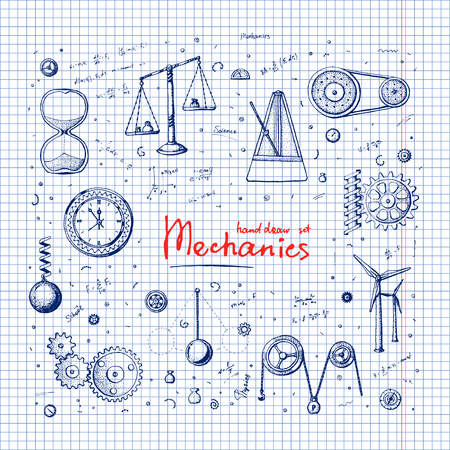 tact: Handdrawn illustration set: Mechanics. Set in doodle style. Eps10 vector.