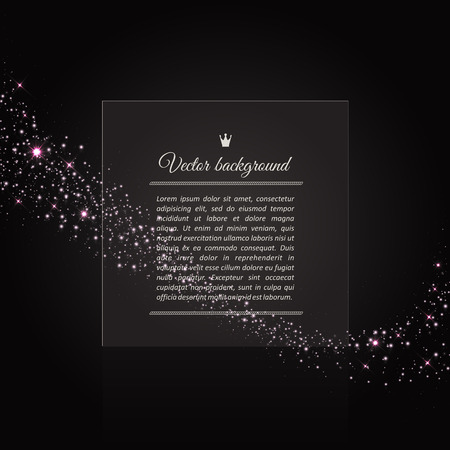 allocated: Vector background of glowing light effect stars. Shining glitter particles allocated on neutral background. Dust sparks. Space for your message. Eps 10 vector illustration.