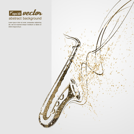 Simplified vector illustration - Music. Notes, lines, saxophone. Illustration